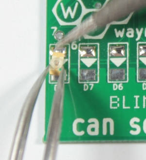 Solder one pin of the LED