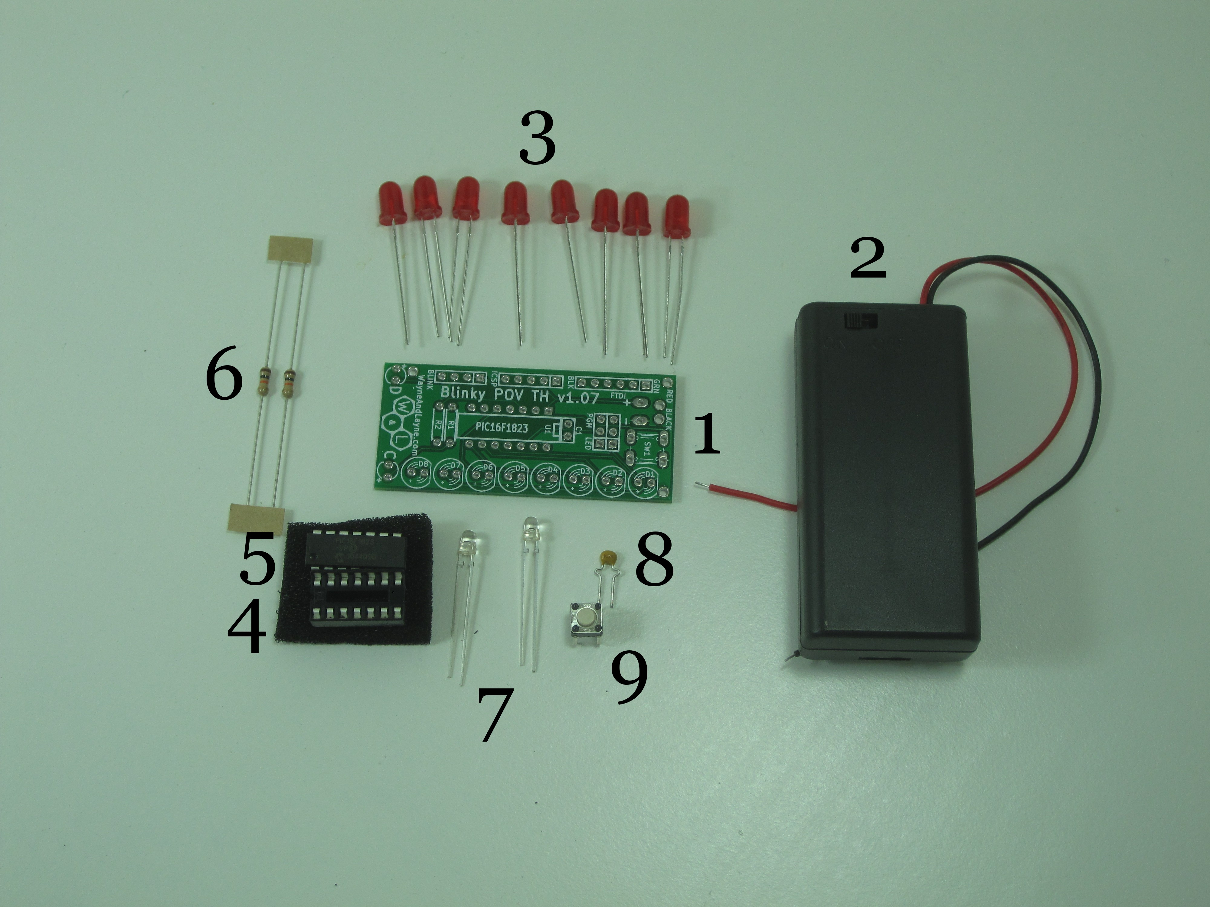 Parts List Wayne And Layne Image Led Pcb Circuit Board Download Annotated Blinky Pov Kit