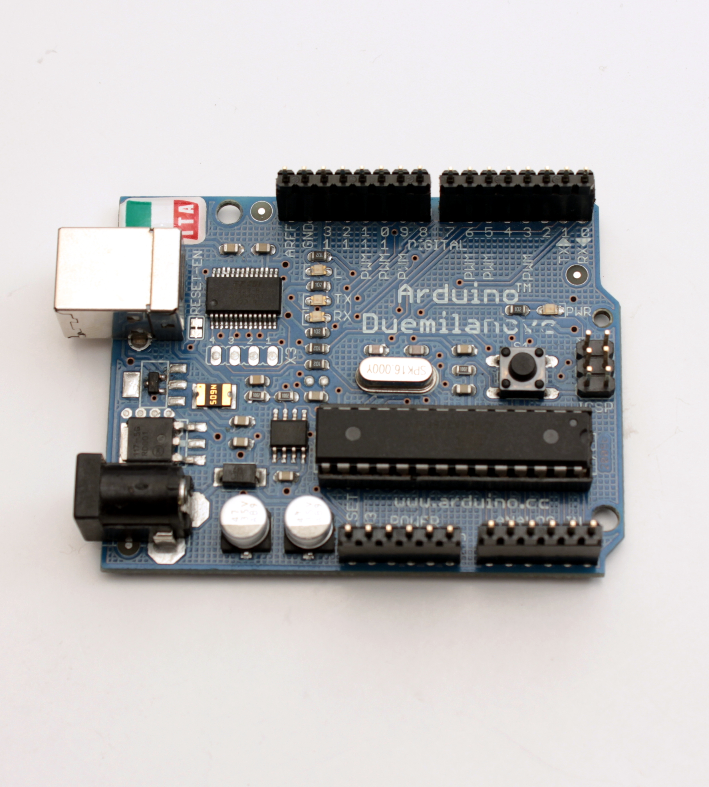 Put the male headers into the Arduino