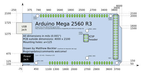 arduino blog  nice drawings of the arduino uno and mega 2560 if
