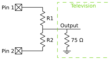 Voltage divider connected to the television