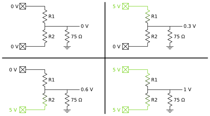 Voltage divider with television for all combinations of input voltages