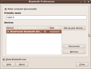 Bluetooth Preferences Screenshot