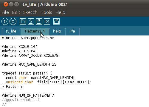 Patterns.h in the Arduino interface